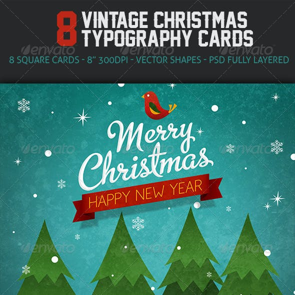 Vintage Christmas Typography Cards