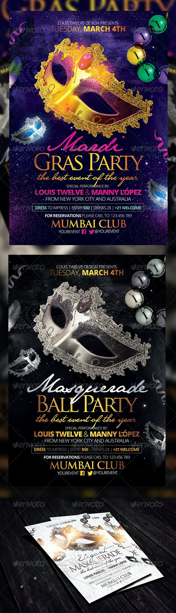 Masquerade Ball / Mardi Gras Party Flyers Template - Clubs & Parties Events