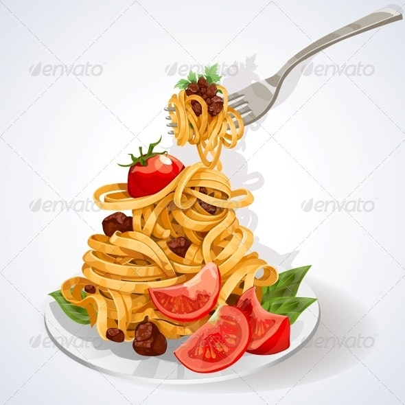 Italian Food Pasta with Tomato and Meat Sauce - Food Objects