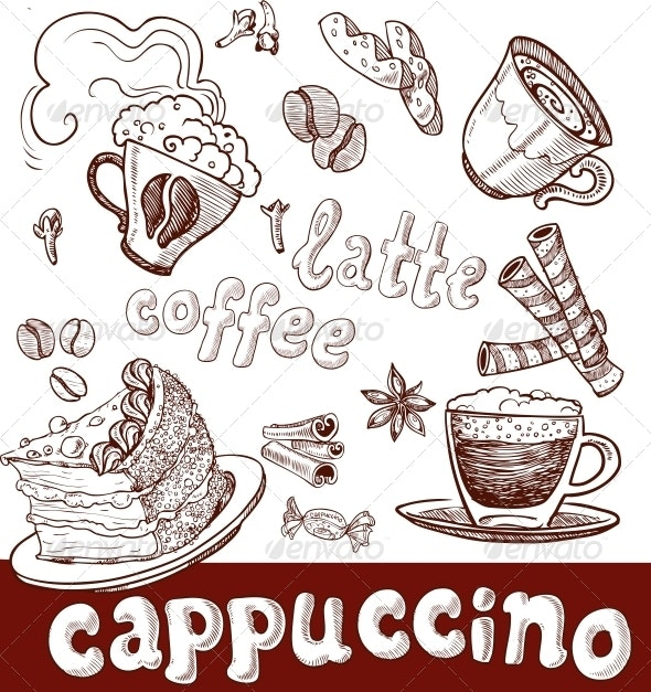 Coffee, Cappuccino, Late and Sweets. Handwriting - Food Objects