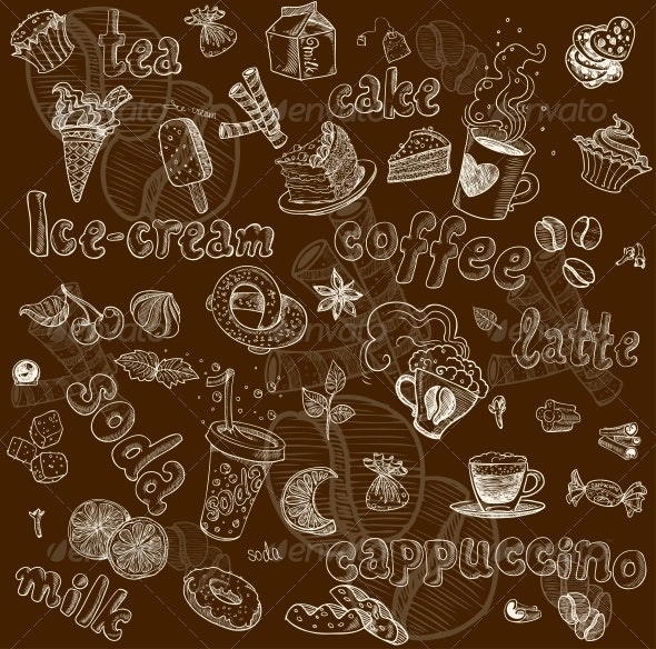 Sweet Seamless Pattern with Drinks and Sweets - Food Objects