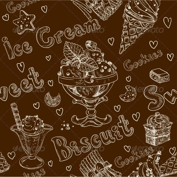 Ice Cream Seamless Background - Food Objects
