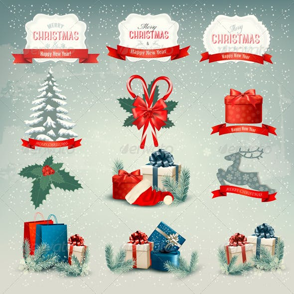 Big Group of Christmas Icons and Design Elements