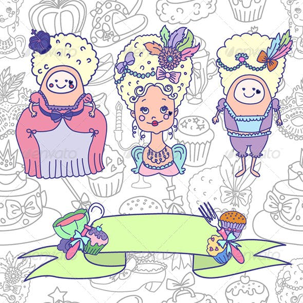Marie Antoinette Characters and Ribbon