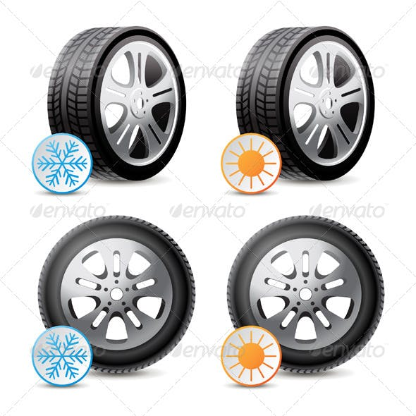 Car Wheels with Winter and Summer Tires