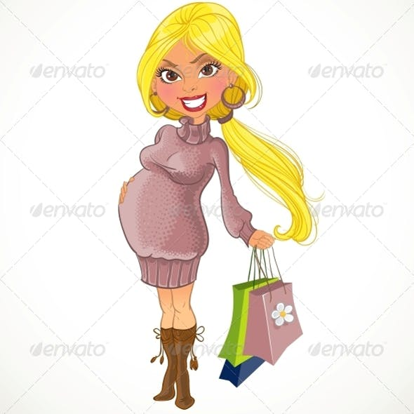 Pregnant Woman in Violet Sweater