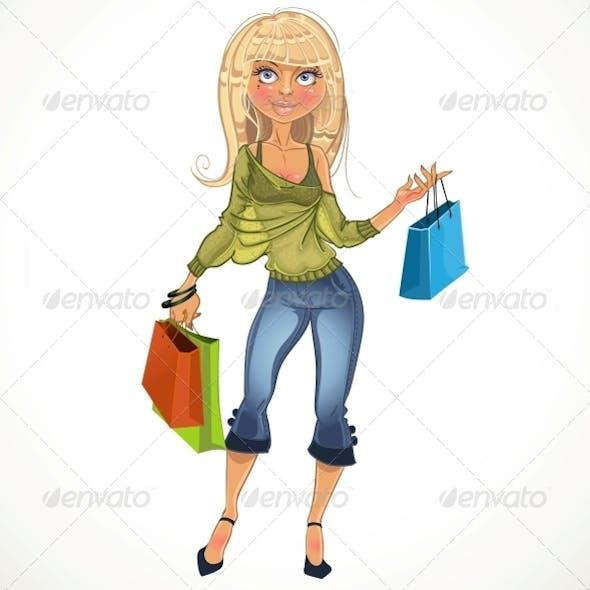 Blond Shopping Glamur Girl