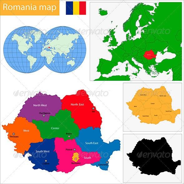 Romania Map - Travel Conceptual