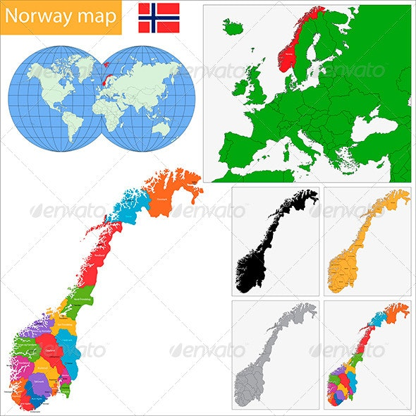 Norway Map - Travel Conceptual