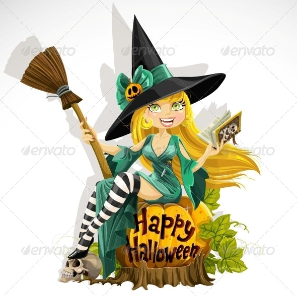 Witch with Book Sitting on Pumpkin - Halloween Seasons/Holidays