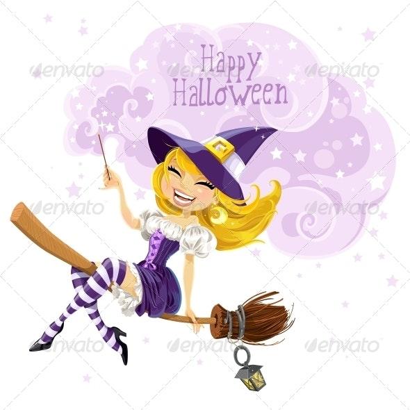 Witch Flying on Broom - Halloween Seasons/Holidays