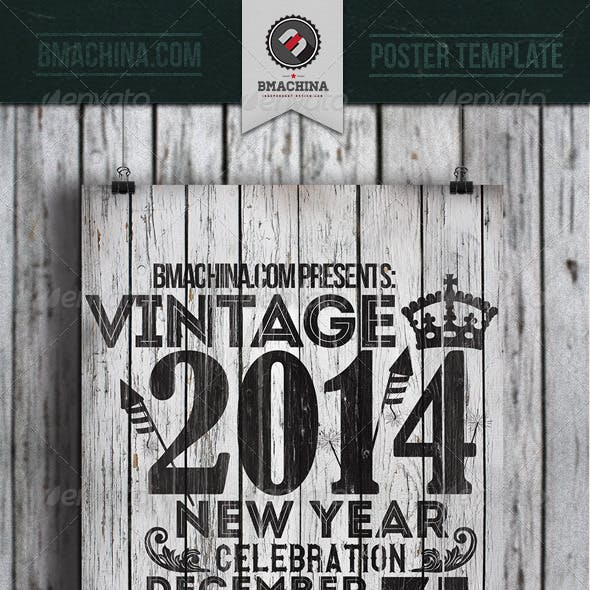 Vintage New Year's Flyer Template