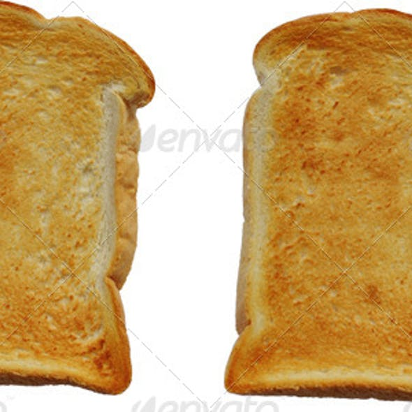 Isolated Slice of Dry Plain Toast