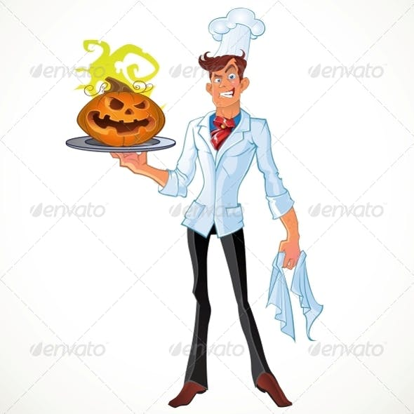 Cook from Hell with a Halloween Pumpkin