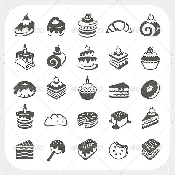 Cakes and Dessert Icons Set