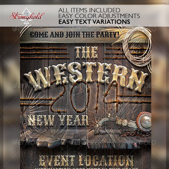 New Year Western Wood Flyer Template