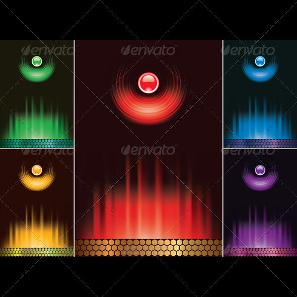 Vectior Set Abstract Menu With Light And Fire - Backgrounds Decorative