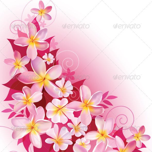 Greeting Card or Invitation with Floral Background