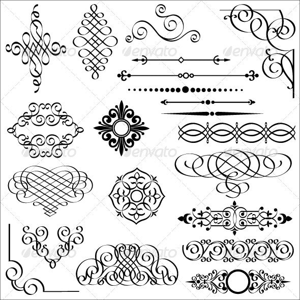 Set of calligraphic design elements - Decorative Symbols Decorative