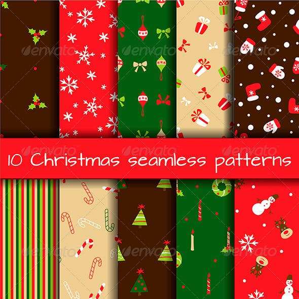 Set of 10 Seamless Christmas Patterns
