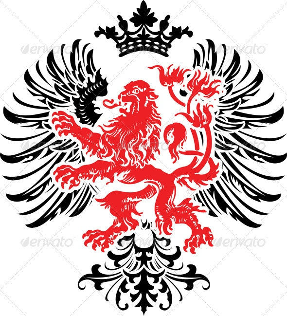 Black Red Decorative Heraldry Ornate Banner. Vecto - Retro Technology