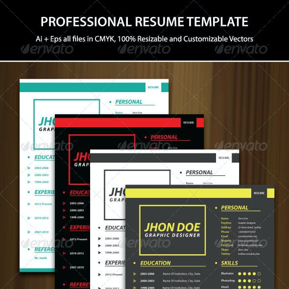 2 Pages Professional Resume Template