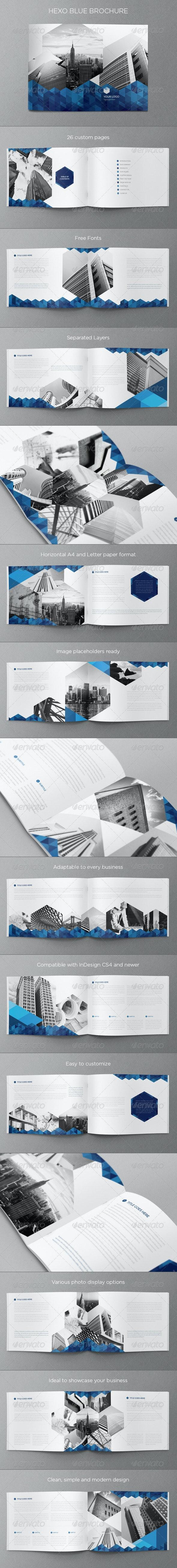 Real Estate Blue Hexo Brochure - Brochures Print Templates