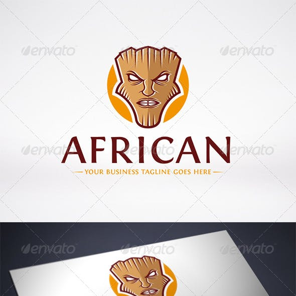 African Mask Logo Template