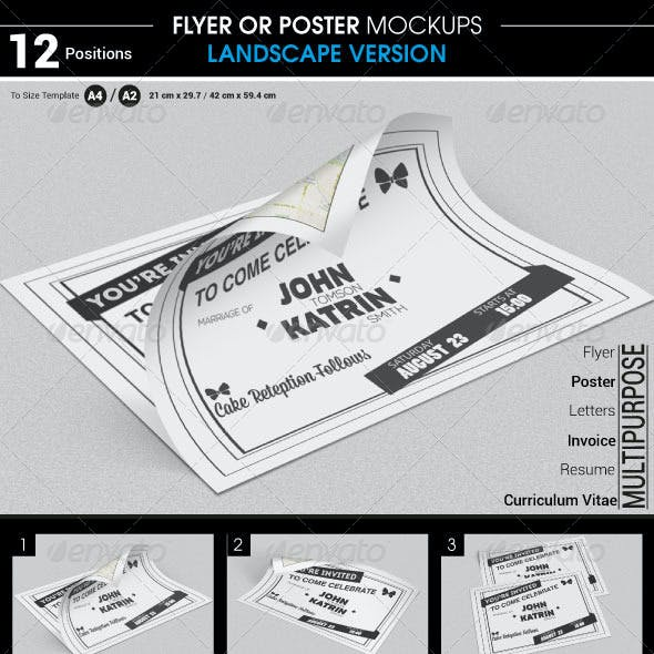Flyer / Poster Mockups Landscape Version