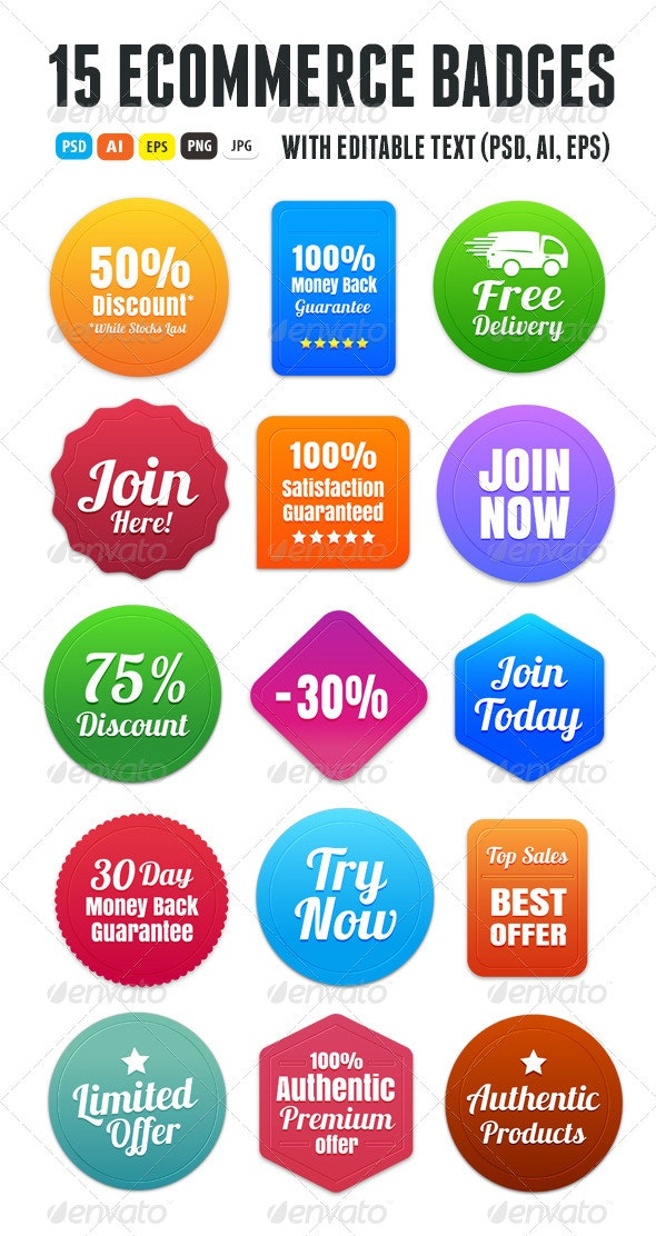 15 Colorful Ecommerce Badges - Badges & Stickers Web Elements