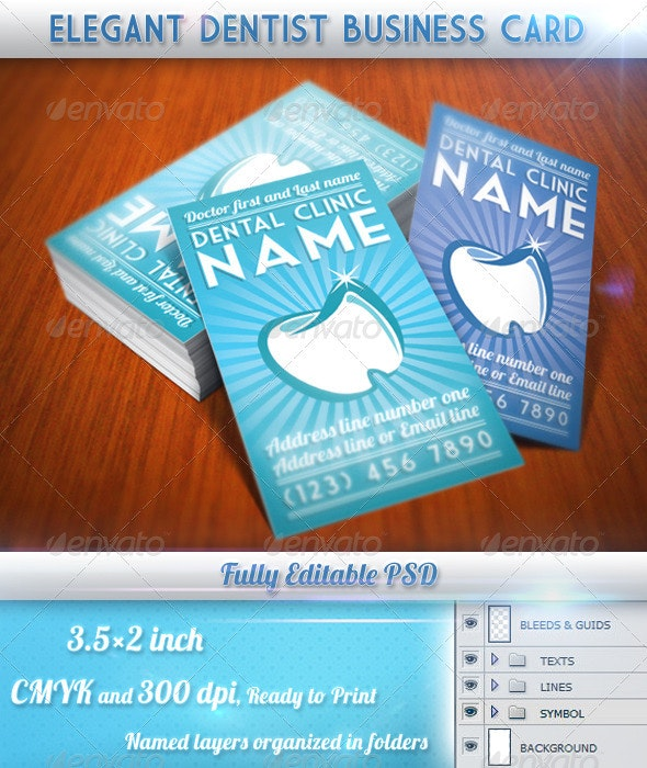 Elegant Dentist Business Card - Industry Specific Business Cards