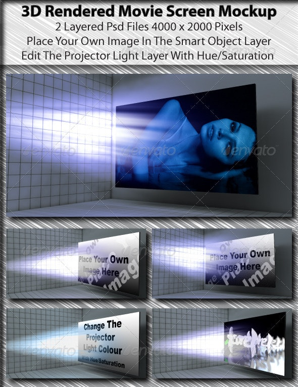 3D Rendered Movie Screen Mockup - Miscellaneous Displays