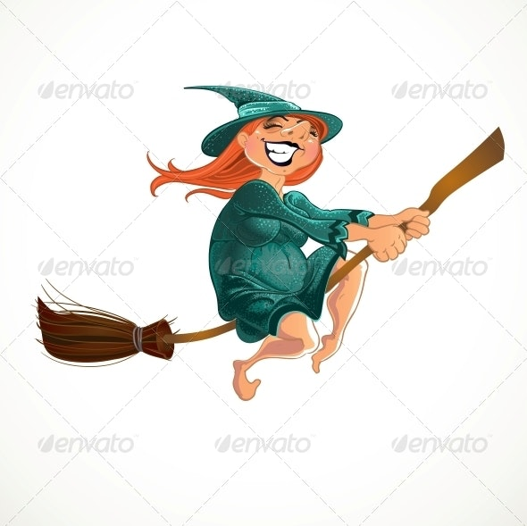 Cheerful Old Witch on the Broom - Halloween Seasons/Holidays