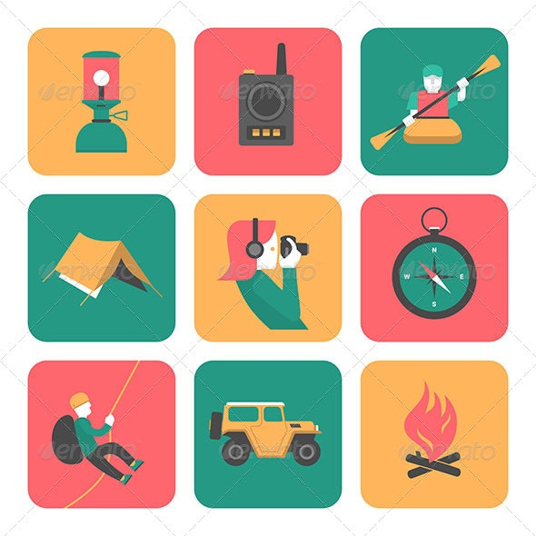 Flat Icons Of Travel And Adventure - Miscellaneous Icons