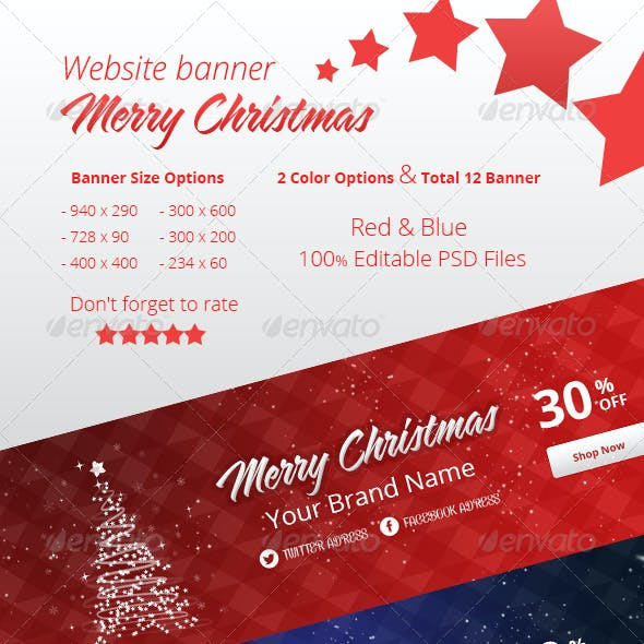 Merry Christmas Banner Set - 2 Color & 6 Size
