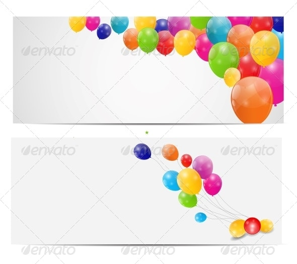 Color Glossy Balloons Background, Vector - Birthdays Seasons/Holidays