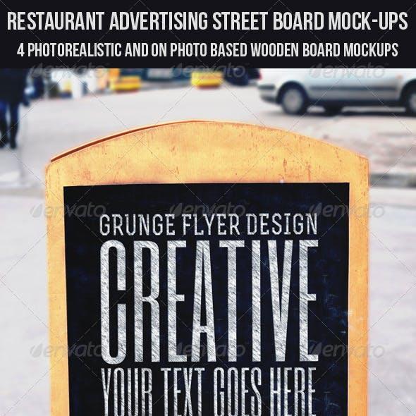 Restaurant Advertising Street Board Mock-Ups