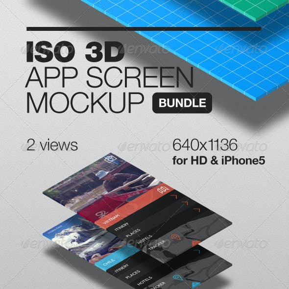 3D Isometric App Screen Mockup