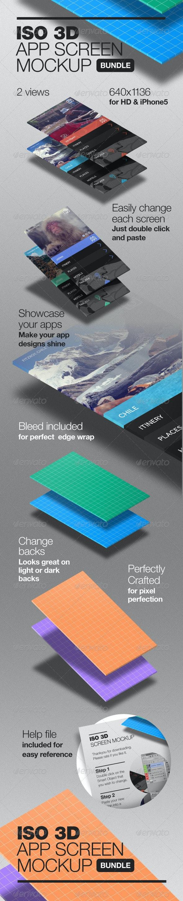3D Isometric App Screen Mockup - Mobile Displays