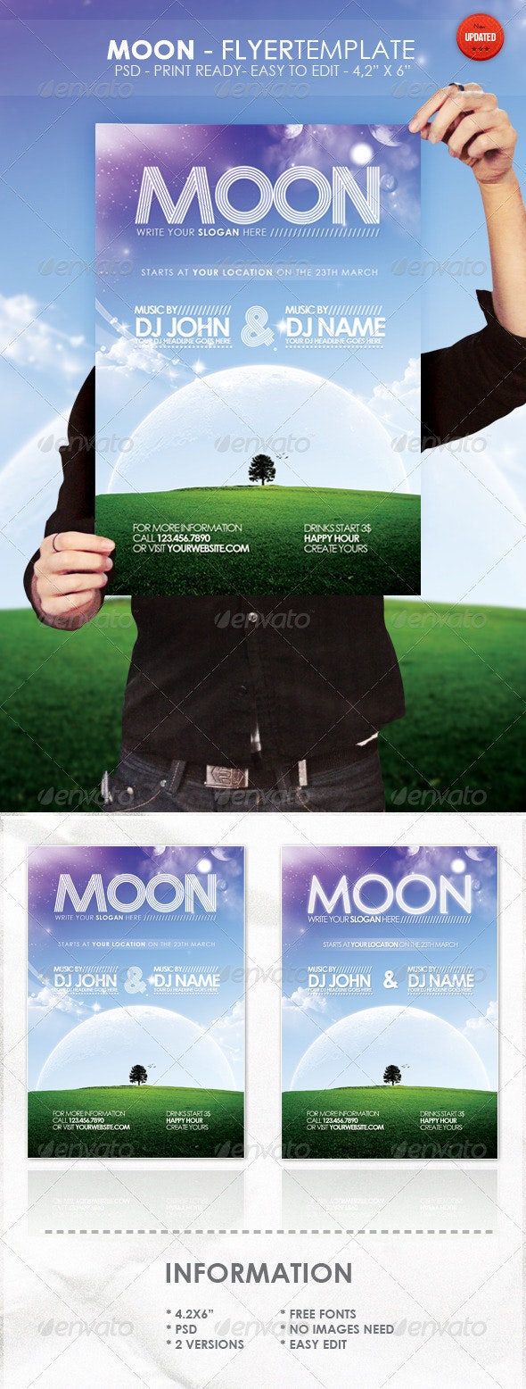 Moon - Flyer Template - Clubs & Parties Events