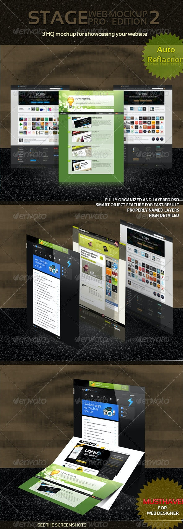 Stage Web Mockup Pack - 2 - Website Displays