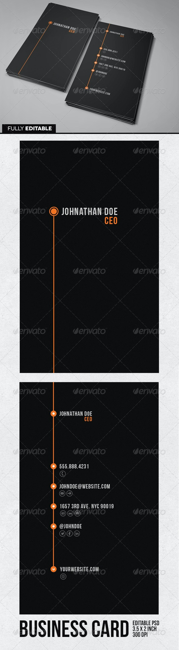 Orange Line Business Card - Business Cards Print Templates