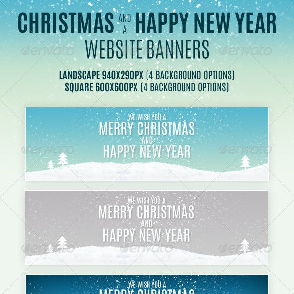 Christmas And Happy New Year Website Banners