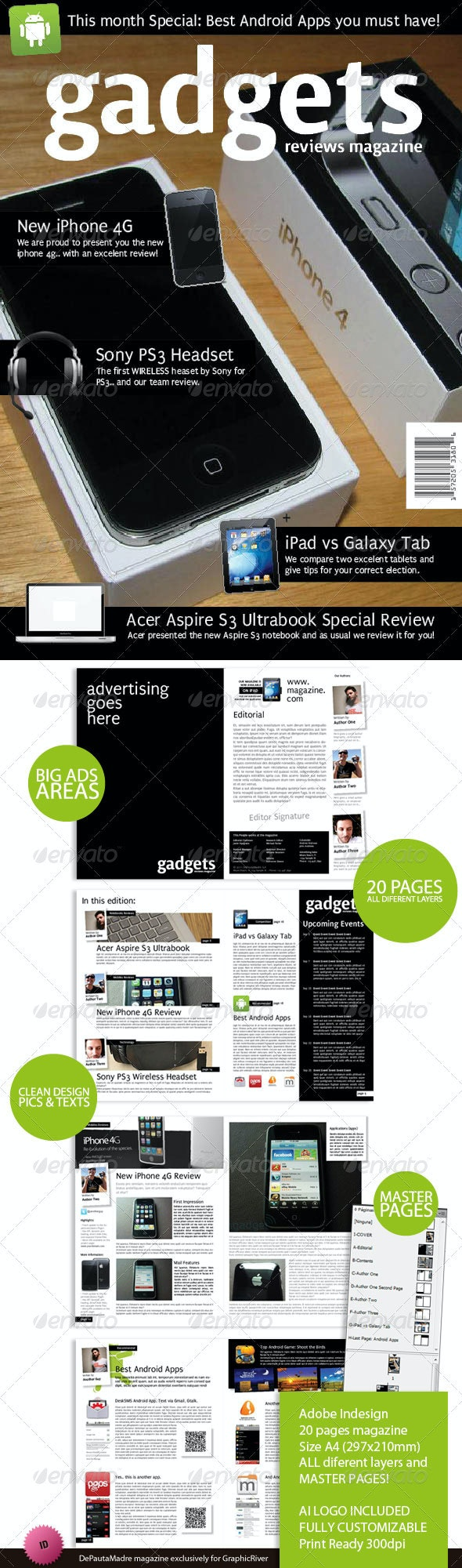 Gadgets Magazine Indesign Template - Magazines Print Templates