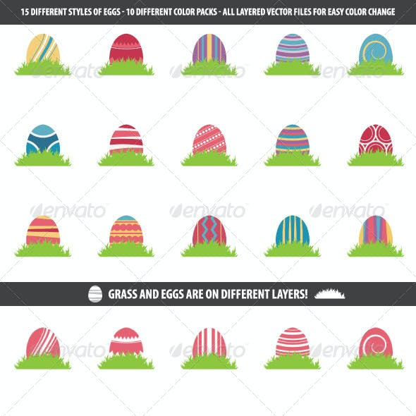 Easter Egg Vector Pack - 10 Different Egg Colors