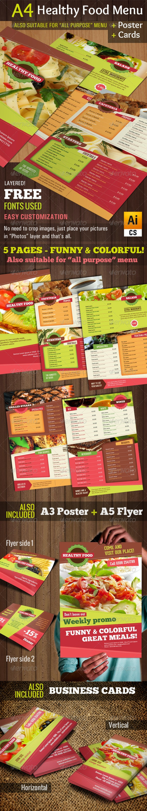 A4 Healthy Food Menu + Poster + Flyer + Cards by good ...