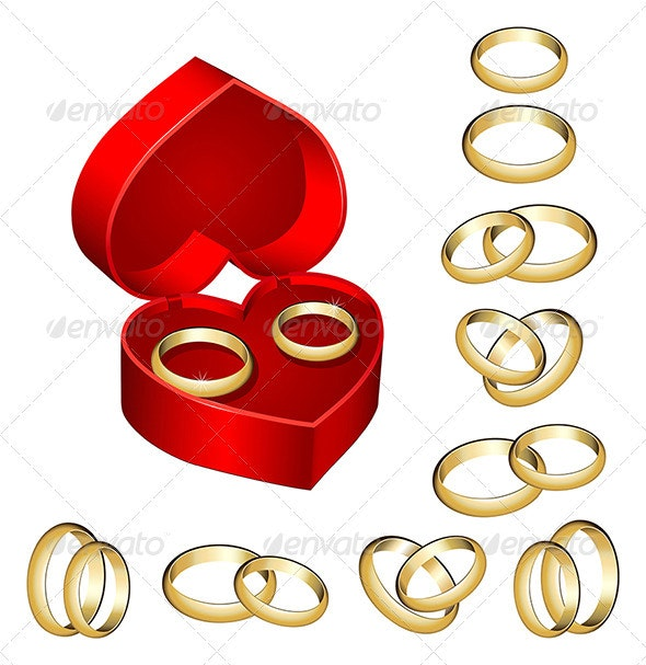 Set of gold wedding rings with heart-shaped box - Weddings Seasons/Holidays