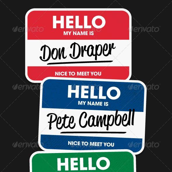 Hello Name Stickers - Vectors