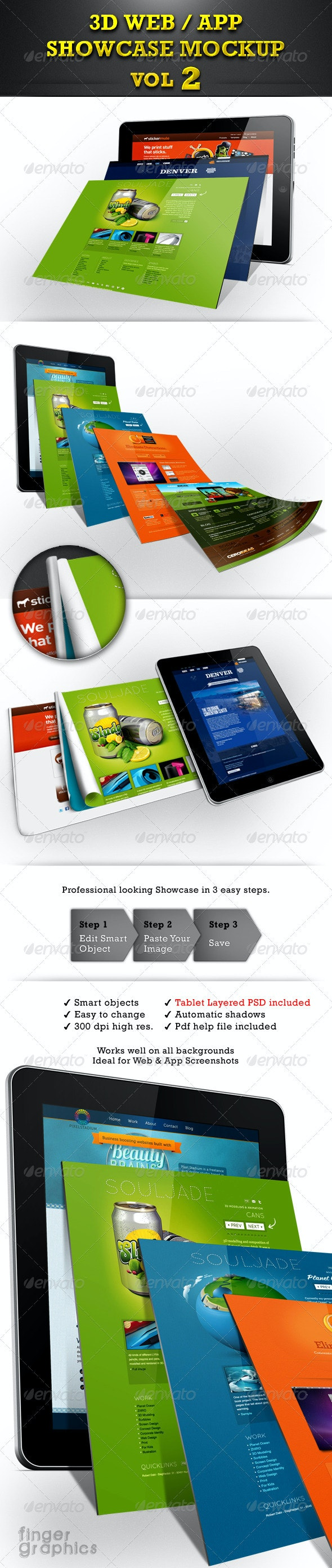 Web / App Showcase Mockup Vol 2 - Mobile Displays