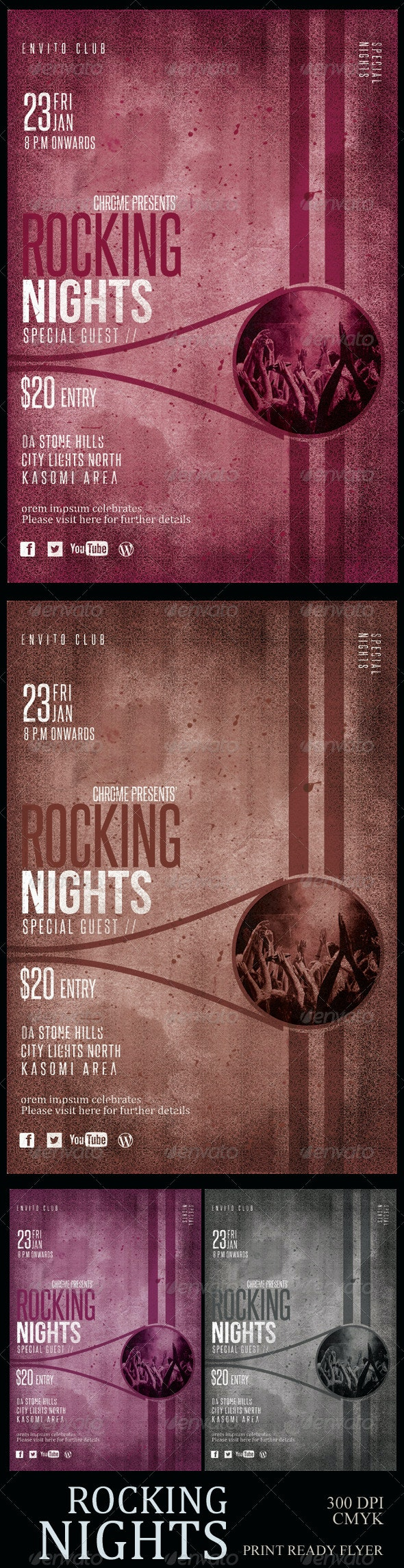Vintage Party Flyer: Rocking Night - Concerts Events